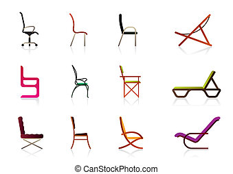 Office, interior, plastic and luxury chairs - vector...
