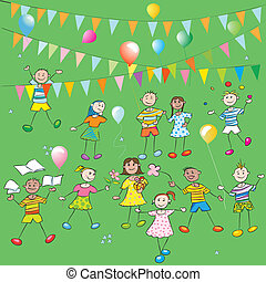 kids party - School kids party hand drawn composition with...