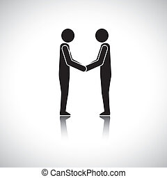 Corporate executives, businessmen or friends greeting hand...