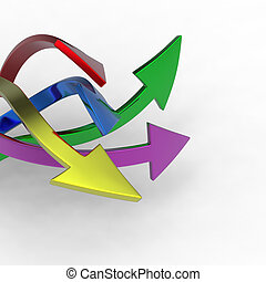 Colorful arrows on white background isolated