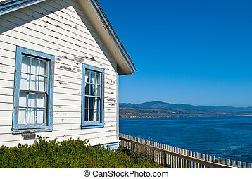 Weathered House by the Sea in Central California, USA