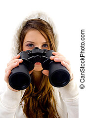 female holding binocular on an isolated white background