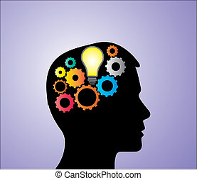 Bright lightbulb in Head with Gears - Concept Illustration...