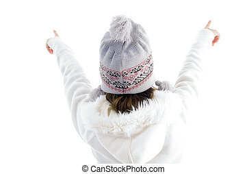 girl pointing with both hands