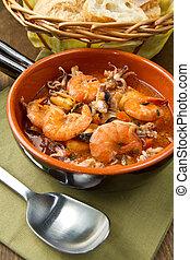 seafood soup - Bowl of fresh seafood soup