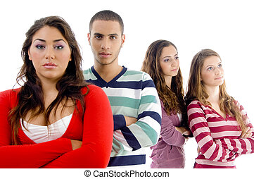 young friends with folded hands on an isolated background