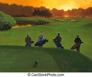 Sunset on the 18th - an oil painting of a foursome in golf,...