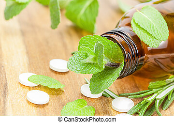 Alternative medicine - Homeopathic medication with tablets ....