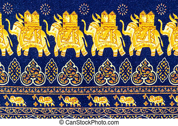 Close up elephant  decorative pattern batik fabric