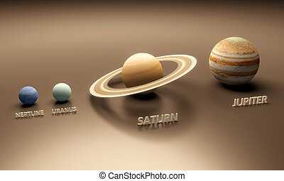 Planets Neptune Uranus Saturn and Jupiter - A rendered...