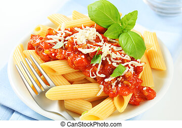 Penne with meat tomato sauce - Penne pasta with meat-based...