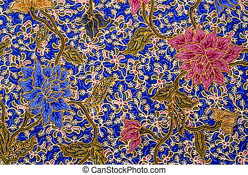 Flower batik pattern - Flower and leaf batik pattern on blue...