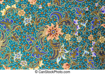 Orange flower on blue background - Orange flower pattern on...