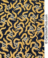 Snail pattern fabric - Snail and dot pattern fabric on black...