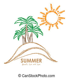 summer vacation - Illustration of beach. summer vacation on...