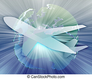 International air travel, airplane over globe Europe Africa