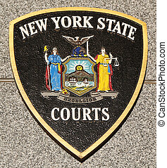 New York State Courts emblem on fallen officers memorial in...