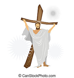 Jesus Christ Standing with A Wooden Cross - An Illustration...