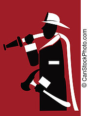 Fireman - silhouette of a stylized figure of a fireman...