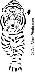 White Tiger - A stylized black and white drawing of a tiger