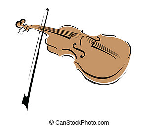 Violin - A stylized drawing of a violin and bow with a spot...