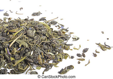 Green tea on white backgrouns isolated, close up