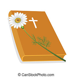 Holy Bible with Wooden Cross and Daisy Flower - An...