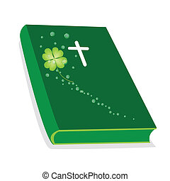 Holy Bible with Wooden Cross and Shamrock