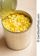Corn - Yellow corn grain in can (close up)