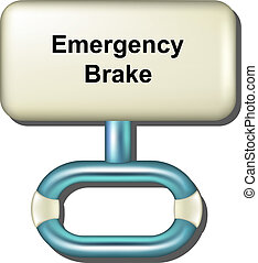 Emergency brake in light blue design on white background