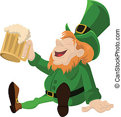 Leprechaun with beer - Vectorimage of Leprechaun with glass...