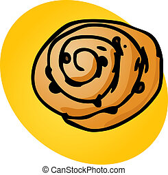 Cinnamon roll, illustration of sweet baked dessert pastries