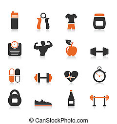 Fitness an icon - Set of icons fitness sports. A vector...