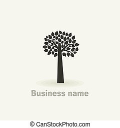 Sign a tree - Tree with a roundish crone. A vector...