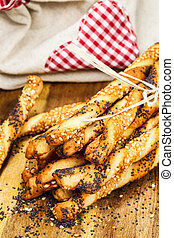 Bread sticks or Pretzel sticks - appetizing baking sticks