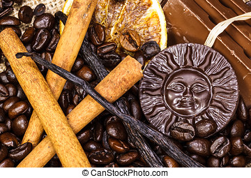 Coffee Flavors - Coffee, chocolate, cinnamon sticks, vanilla...