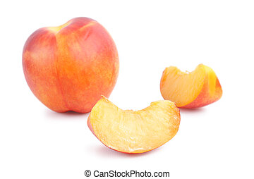 Nectarine - Ripe Nectarine on white background isolated,...