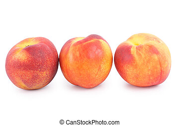 Nectarine - Ripe Nectarine on white background (isolated,...