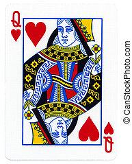 juego, tarjeta, -, reina, Corazones