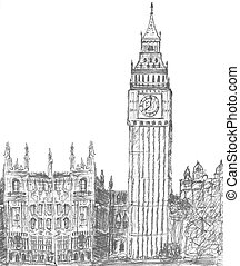 sketching of big Ben London England - sketching of big ben...
