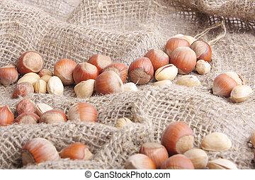 hazelnut - many whole tasty brown hazelnut close up