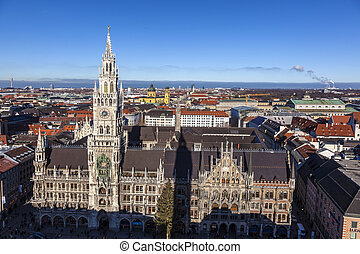 famous munich marienplatz with town hall - germany - bavaria