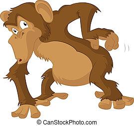 Chimpanzee - Vector image of Chimpanzee scrathes its back