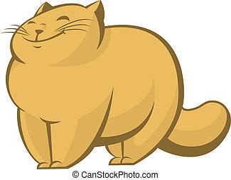 Fat cat - Vector image of big fat lazy cat