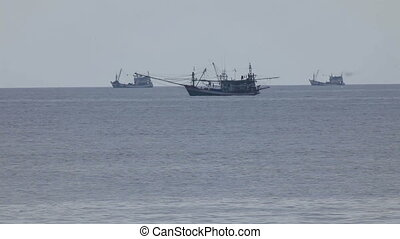 Fishing vessels in Andaman sea, Thailand