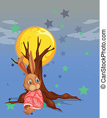 A bunny resting beside the big tree