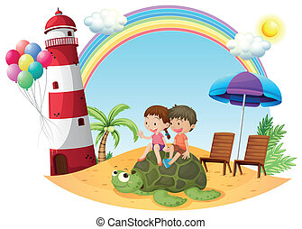 Kids playing with the turtle at the seashore - Illustration...
