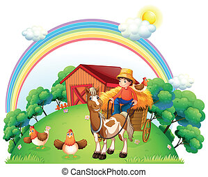 A boy riding in his farm cart - Illustration of a boy riding...
