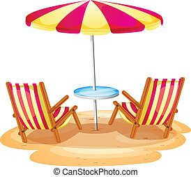 A stripe beach umbrella and the two wooden chairs -...