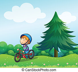 A boy with a safety helmet riding in his bike - Illustration...